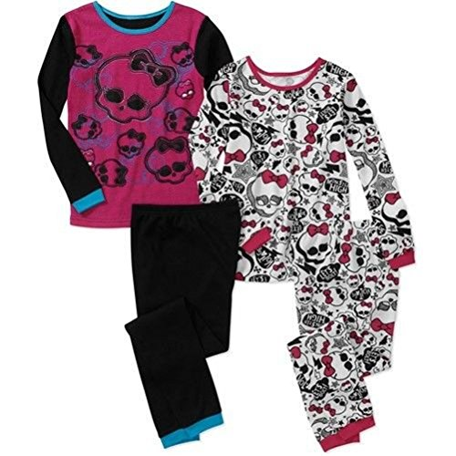Monster High Girl 4 PC Long Sleeve Thermal Pajama Set m mism 2pcs new rhinestone bead hair elastic band hair accessories rubber tie gum ponytail holder scrunchy for women girls