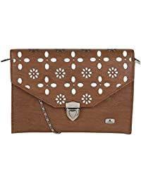 K London Brown & Silver Casual Sling Bag For Women (1701_BROWN_SLVR)