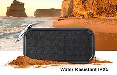 iCode Sports Portable Bluetooth Speaker, Waterproof Bluetooth Speaker (IPX5) Outdoor Speaker with 2×3W Dual Stereo Bass Radiator (BLACK)