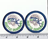Set of 2 Vintage 1980s NFL Seattle Seahawks 2 Inch Round PATCH Old Logo Throwback (sew or iron on) at Amazon.com