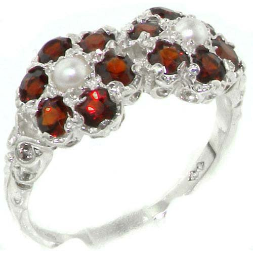 Rare Solid Sterling Silver Natural Garnet & Pearl Double Daisy Ring - Size 11.75 - Finger Sizes 4 to 12 Available - Suitable as an Anniversary ring, Engagement ring, High Quality ring, or Promise ring