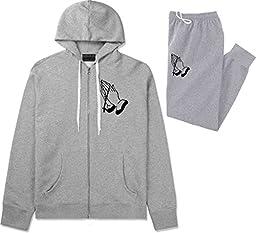 Kings Of NY Prayer Hands God Views Mens Sweat Suit Hoodie Pants Grey XX-Large
