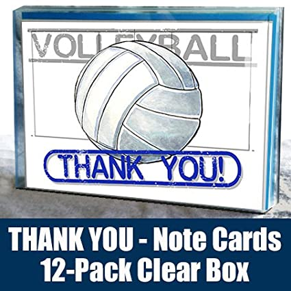 Volleyball-Thank-You-Note-Cards-(4.25X5.5)-12-Pack-Sports-Powercard-Clear-Box-Set-12-Pack
