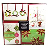 Christmas Card Collection - 24 Handmade Christmas Cards With Self-Sealing Envelopes, 4 Different Designs, Holiday Fun Collection