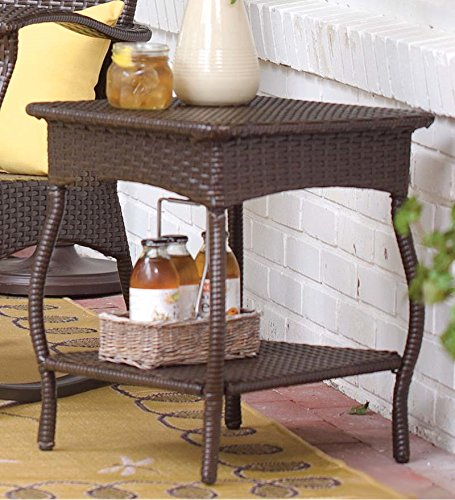 Outdoor Or Indoor Wicker Side Table With Steel Frame, In Chocolate image