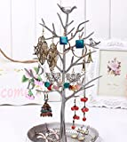 Inviktus Silver Birds Tree Jewelry Stand Display Earring Necklace Holder Organizer Rack Tower