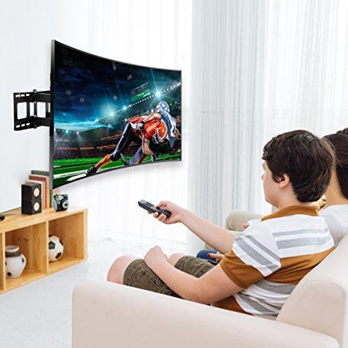 fleximounts cr1 curved panel tv wall mount bracket for 32 65 uhd oled 4k samsung lg vizio etc tvs. Black Bedroom Furniture Sets. Home Design Ideas
