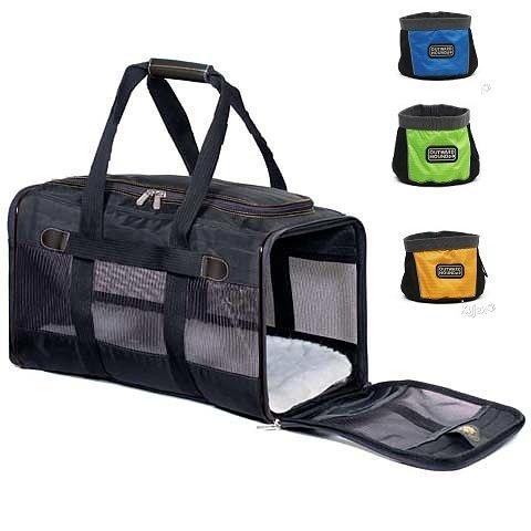 "Sherpa Original Classic Deluxe Black Pet Dog Cat Airline Carrier Crate Bag Medium - 17"" X 11"" X 10.5"", Carrier Weight 3.6 Lbs Bonus Free Travel Bowl 24 Oz."