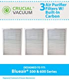 Set of 3 Deluxe 500/600 Series Blueair Air Purifier Filters with Built-In Odor Neutralizing Particle Pre-Filter; Fits Blueair 501, 503, 550E, 601, 603, 650E models and ALL Blueair 500 & 600 Series Air Purifiers; Designed & Engineered by Crucial Air