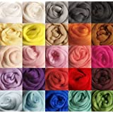 FORSUN DOD-Life 36 Colors Merino Wool Fibre Roving for Needle Felting Hand Spinning BIN,3g/Color, Total 108g