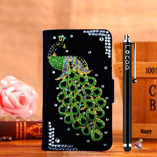 Locaa(TM) LG G3 VS985 D850 D830 D851 LGG3 3D Bling Peacock Case + Phone stylus + Anti-dust ear plug Deluxe Luxury Crystal Pearl Diamond Rhinestone eye-catching Beautiful Leather Retro Support bumper Cover Card Holder Wallet Cases [Peacock Series] Black case - Green peacock (G3 Dust Plug compare prices)