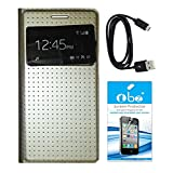 TBZ S-View Dotted Flip Cover Case For Samsung Galaxy Grand 2 With Screen Guard And Data Cable -Golden