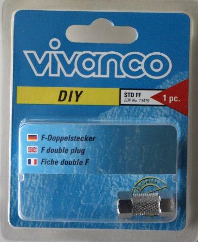 Vivanco F-Doppelstecker F-Verbinder Adapter Sat Kabel DVB-T Koax Kabel F-Stecker