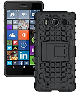 Lumia 950 Case, Microsoft Lumia 950 Case, [DOB] Hybrid Rubberized Tpu+pc Scratchproof Shock Proof Skidproof Impact Resistant Hard Shell with Flip Kickstand for Microsoft Lumia 950 (Black)