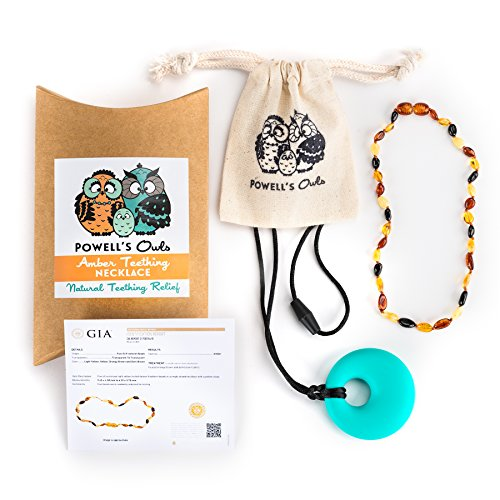 buy Powell's Owls Baltic Amber Silicone Teething Necklace Set for Babies, 12.5-Inch (Multi-color) for sale