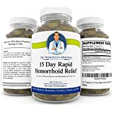 Dr. Frederick's 15 Day Rapid Hemorrhoid Relief - 180 Capsules - 100% Blond Psyllium Husk Powder - High Dose Fiber Supplement - Reduce Bleeding, Itching, Pain, & Strain.