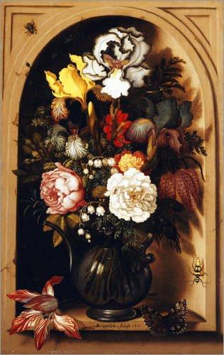 Stampa su acrilico 80 x 130 cm: Blumenstrauß in einer Nische. 1621 di Balthasar van der Ast / ARTOTHEK