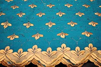 Teal,embroidery Polycotton African Lace Textile in 11 Colors, Blended Cotton Voile