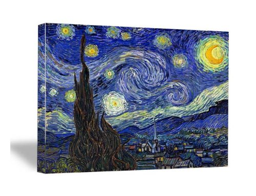 Wieco Art Canvas Prints Van Gogh Starry Night Modern Wall Art for Home Decoration 20inch by 28inch