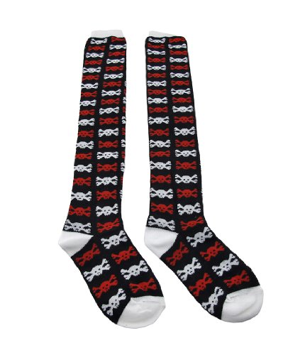 Red, White, Black Skull and Crossbones Thigh High Fashion Socks