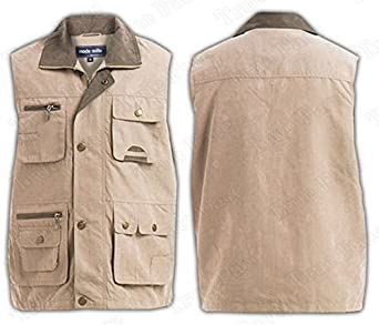 Premium Quality Mens Multi Pocket Vest Waistcoat Jacket Top For Fishing Hunting Hiking Safari Gilet Waistcoat In 4 Colours Size M to 3XL (Medium, Beige)