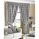 Paoletti Hanover Chenille Jacquard Pencil Pleat Curtains, Silver, 90 x 90 Inch
