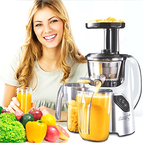 New Age Living SJC-45 Masticating Slow Juicer - 5 Year Warranty - Juice Fruits, Vegetables, Greens, Wheat Grass & More - Make Pro Quality Healthy Juices At Home (WHITE) (Whole Food Juicer compare prices)