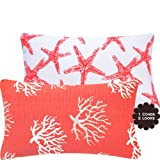 Chloe & Olive Wonders of The Seas Salmon Collection Starfish and Coral Reversible Lumbar Pillow Cover, 12 by 20-Inch, Coral Orange
