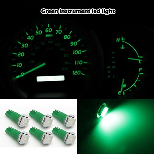 Partsam 6X T5 17 74 70 73 Car Smd Led Instrument Gauge Dashboard Light Bulb Dc 12V Green For 2004-2011 Scion Xb
