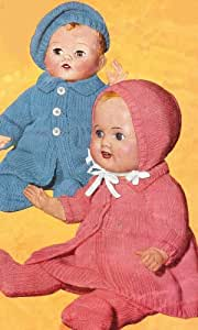 Vintage Knitting PATTERN to make - 12 14 16-inch Baby Doll Clothes Beret Set. NOT a finished item, this is a pattern and/or instructions to make the item only.