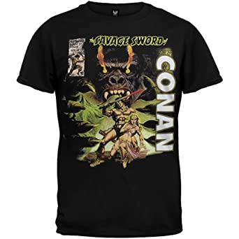 Conan The Barbarian - Mens Savage Sword Soft T-shirt Small Black