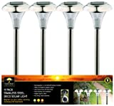 Benross GardenKraft 18100 Stainless Steel Solar Garden Lights (Pack of 4)