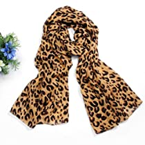 Fashion Chiffon Leopard Pattern Mocha Shawl Scarf Wrap Best Gift for Ladies