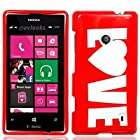 For T-Mobile Nokia Lumia 521 Windows Phone 8 Hard Snap-On Case Red Love
