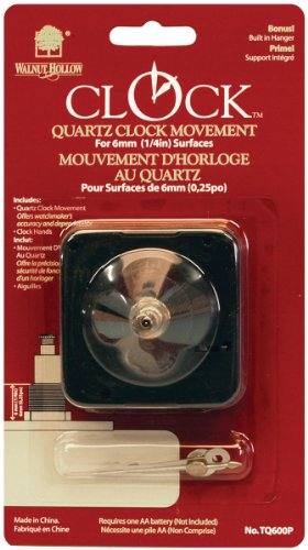 Walnut Hollow Quartz Clock Movement, for 1/4-Inch Surfaces - 1