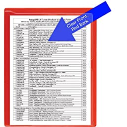 StoreSMART® - Paperwork Organizers - 25-Pack - Red Plastic Back, Clear Plastic Front - Heavy Duty - PF8511PQR-25