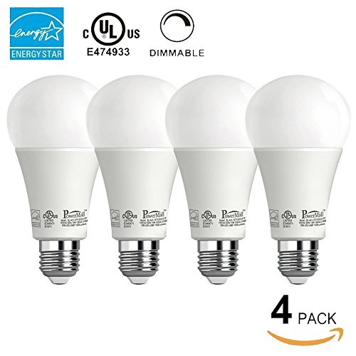Powermall Energy Star A21 LED Light Bulbs 15W (=100W) 1500LM 2700K Warm White E26 Home Commercial Lighting Lamp 4 Pack