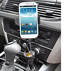 Alria Universal Dual USB Ports Car Charger Phone Holder Mount with Cigarette Lighter Charger DC Port, 360° Adjustable Rotation, Car Mount Stand Holder for iPhone, Samsung, Nokia,HTC and most Smartphones, including Galaxy Note