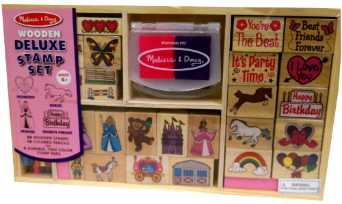 Melissa & Doug Large Wooden Deluxe 37 Piece Stamp Gift Set - 4 Themes Included! Horses, Friendship, Princess, & Favorite Phrases