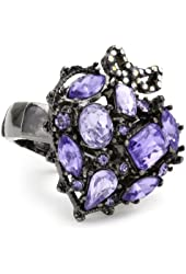 """Betsey Johnson """"Iconic Celestial"""" Crystal Gem Heart Stretch Ring"""