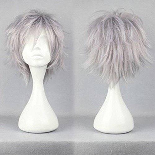 Anime Cosplay Synthetic Full Wig with Bangs 20 Styles Short Layered Fluffy Hair Oblique Fringe Full Head Unisex for Man and Women Girls Lady Fashion (Silvery (Sexy Updo)