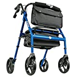 Hugo Elite Rollator Walker with Seat, Backrest and Saddle Bag,...