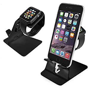 Orzly® - DuoStand Charge Station for Apple Watch & iPhone - Aluminium Desk Stand Cradle in BLACK with Built-In Insert Slots for both Grommet Wireless Charger and Lightning Cable for use as a fully functional Charging Dock for both your Apple Watch & iPhone Simultaneously - Fits iPhone Models: 5 / 5S / 5C / 6 / 6 PLUS and both 42mm & 38mm sizes of 2015 Watch Models (Original BASIC Model / SPORT Version / and EDITION Models)