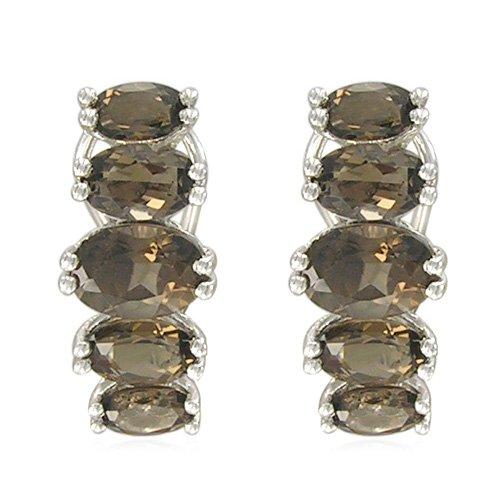 Sterling Silver Oval-Shaped Smoky-Quartz Earrings