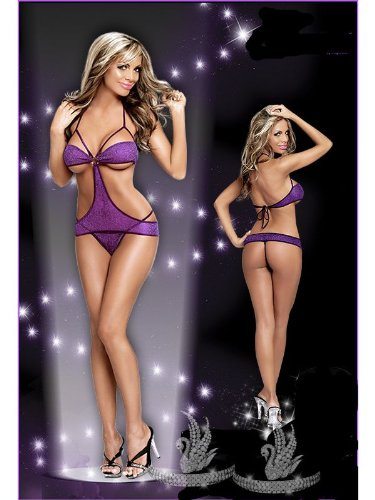 Sexy Lingerie Babydoll Purple Sparkle Mini Dress – One Size