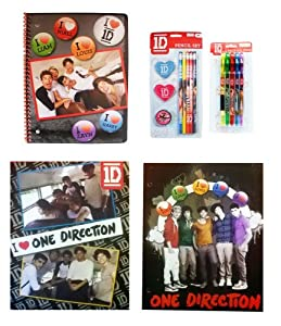 One Direction 5 Pc. Ultimate School Set - 2 Folders, 1 Spiral, Pencil Set, & Pen Pa