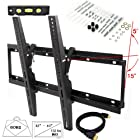Lumsing New Universal Flush Tilt Dual Hook LED LCD Plasma Flat TV Wall Mount Bracket 32 37 40 42 43 46 47 50 51 52 55 60 Black with Magnetic Bubble Level (Heavy-duty Solid Steel Construction! Hold Up to 132 lbs! 15 Degree forward/downward ! VESA standard 75/100/200/400/600/700) (32-60 inch TV Display w HDMI Cable)