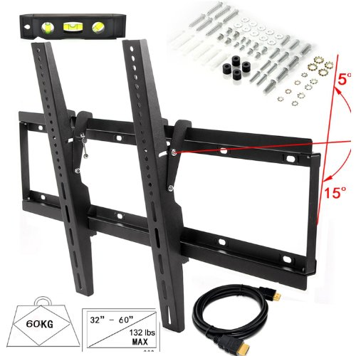 "Lumsing New Universal Flush Tilt Dual Hook Led Lcd Plasma Flat Tv Wall Mount Bracket 32 37 40 42 43 46 47 50 51 52 55 60"" Black With Magnetic Bubble Level (Heavy-Duty Solid Steel Construction! Hold Up To 132 Lbs! 15 Degree Forward/Downward ! Vesa Standard"