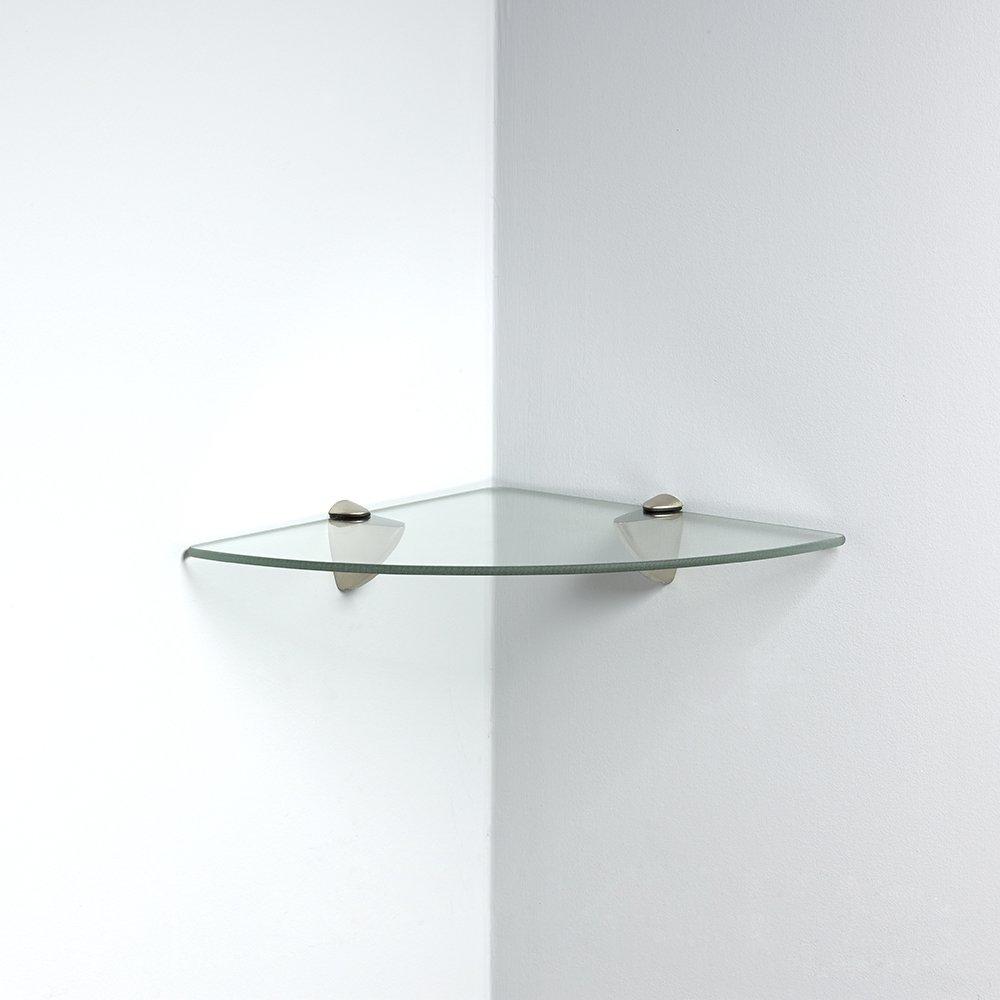 John Sterling Shelf-Made KT-0134-1212SN Glass Corner Shelf Kit, Satin Nickel, 12-Inch by 12-Inch