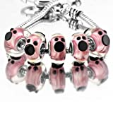 Pugster 5pcs Pink Cute Mickey Disney Animal Charm Bead Murano Glass Bracelet Fits Pandora